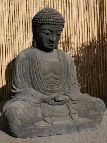 Steinfigur japanischer buddha aus lavaformstein for Steinfigur buddha garten