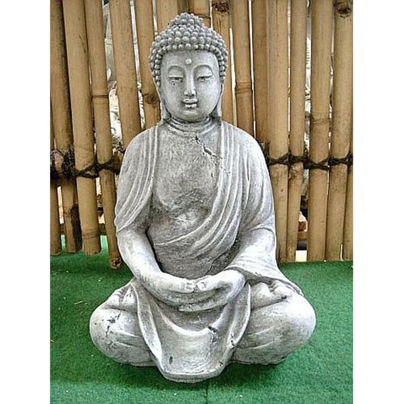 steinfigur buddha sitzend buddhafigur handhaltung meditation steinguss. Black Bedroom Furniture Sets. Home Design Ideas